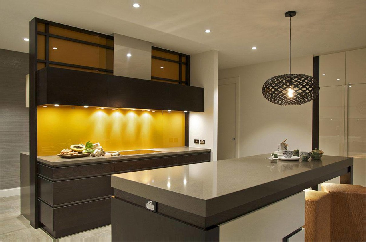 JAG Kitchens cabinetry, countertop, interior design, kitchen, lighting, under cabinet lighting, brown, black