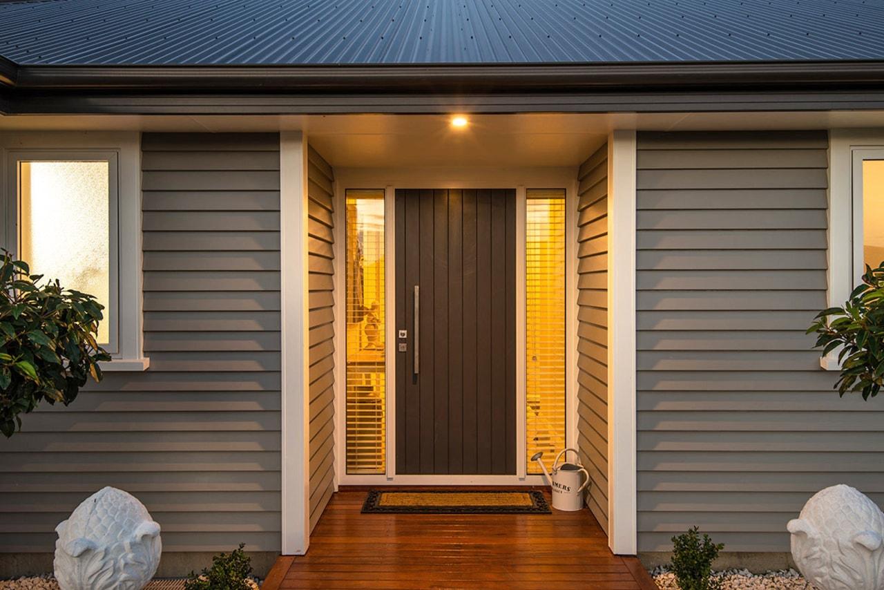 House entrance features Envira box corners door, facade, home, house, property, real estate, siding, window, brown, gray