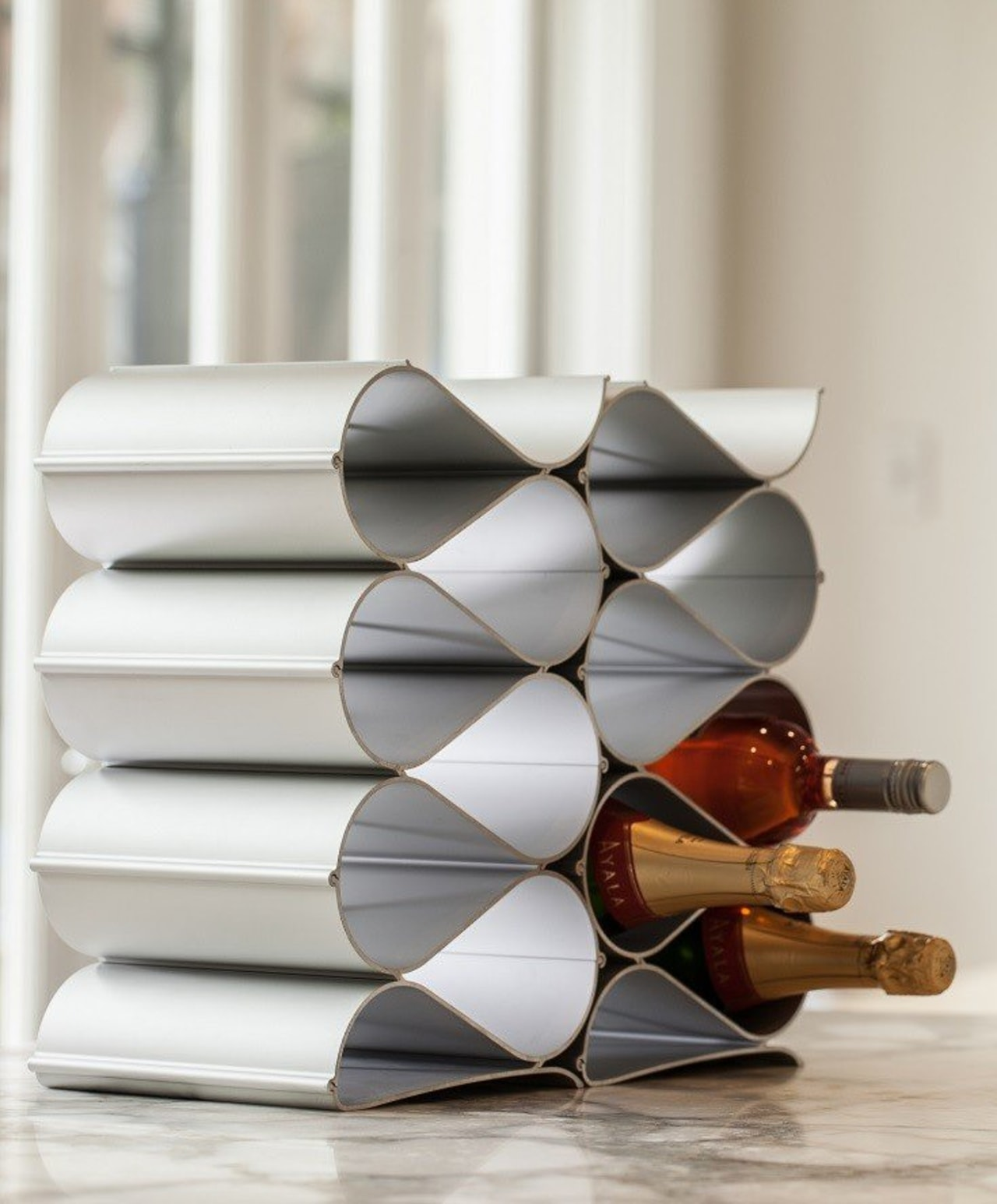 Just starting your wine collection? An Echelon 6 furniture, product design, shelf, gray, white