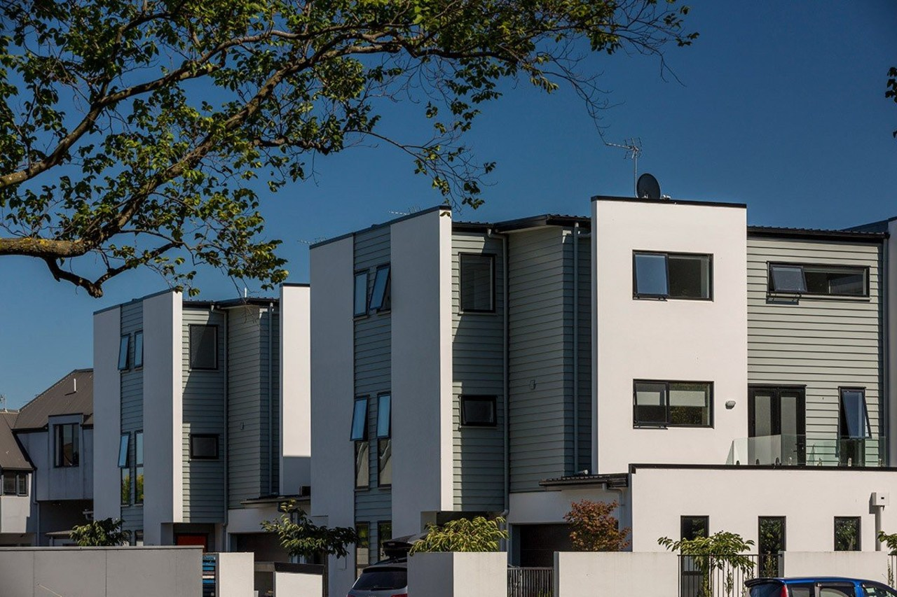 Contemporary Christchurch apartments featuring Envira weatherboards apartment, architecture, building, condominium, elevation, facade, home, house, mixed use, neighbourhood, property, real estate, residential area, black, blue