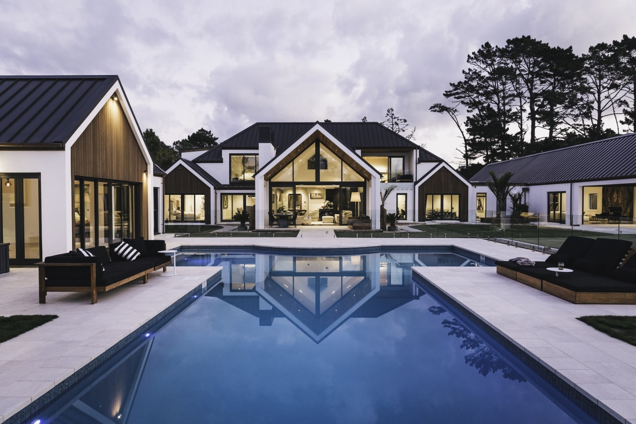 Bindon Design Group - Winner – 2016 TIDA architecture, cottage, estate, home, house, property, real estate, reflection, residential area, swimming pool, villa, water, gray, blue