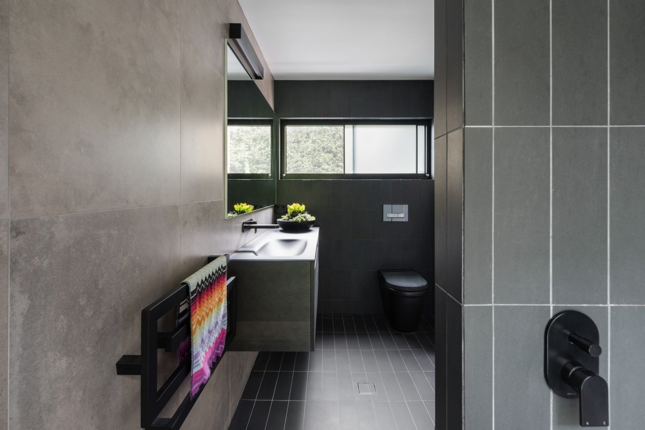 Bijl Architecture architecture, bathroom, bathroom accessory, floor, interior design, product design, room, tile, gray, black