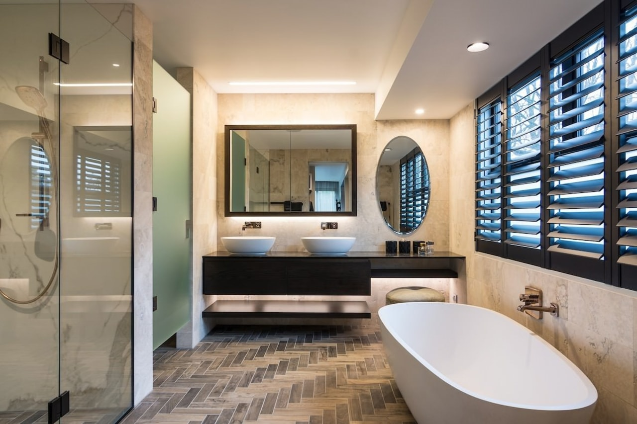 Armstrong Interiors bathroom, estate, floor, interior design, room, gray