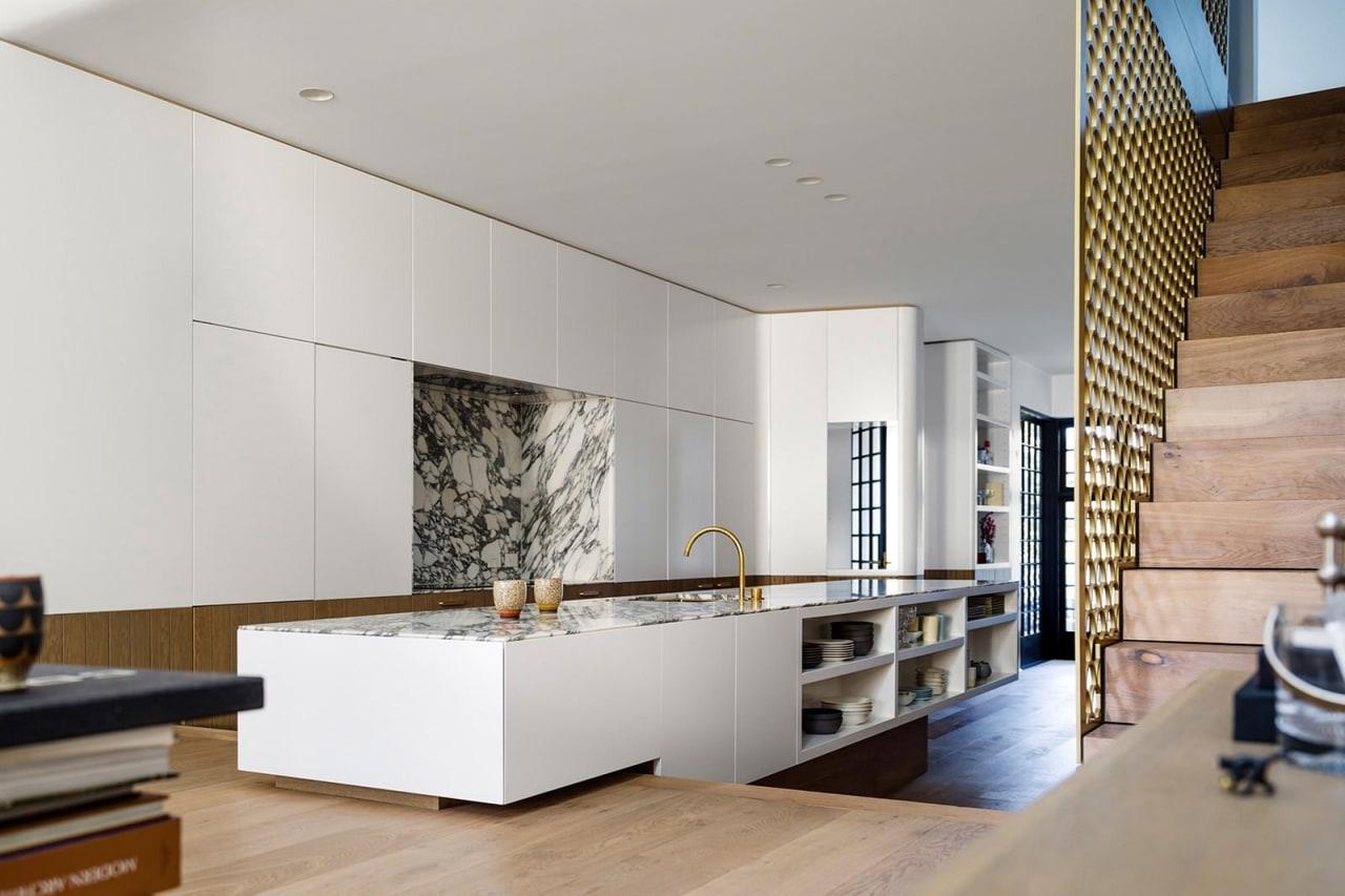 Architect: Luigi Rosselli. Photography by Justin Alexander, Sean architecture, ceiling, floor, flooring, house, interior design, kitchen, living room, gray