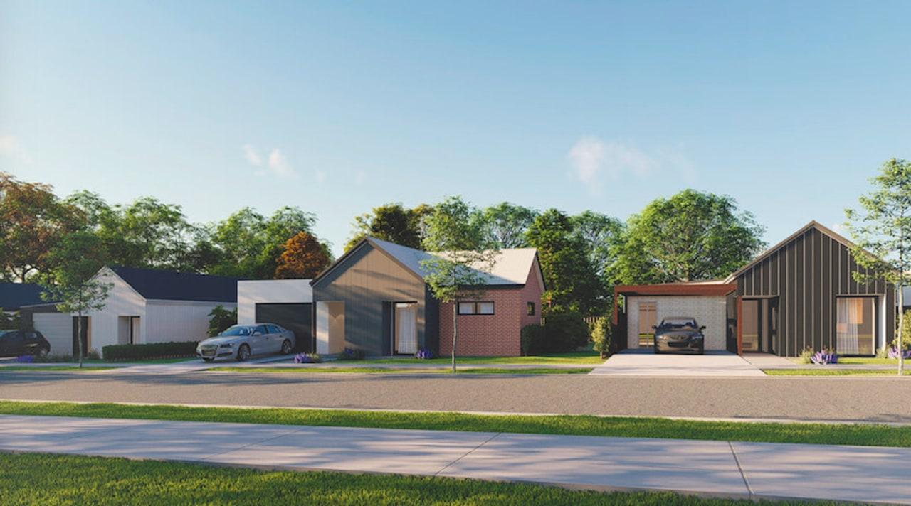 GJ Gardner -  Whenuapai  development in cottage, elevation, estate, facade, farmhouse, home, house, land lot, neighbourhood, property, real estate, residential area, suburb, white, gray