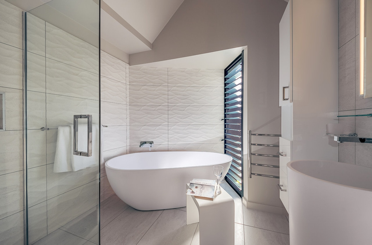 Extending the length of the existing bathroom provided architecture, bathroom, bathroom accessory, bidet, floor, interior design, plumbing fixture, room, tap, tile, toilet seat, gray