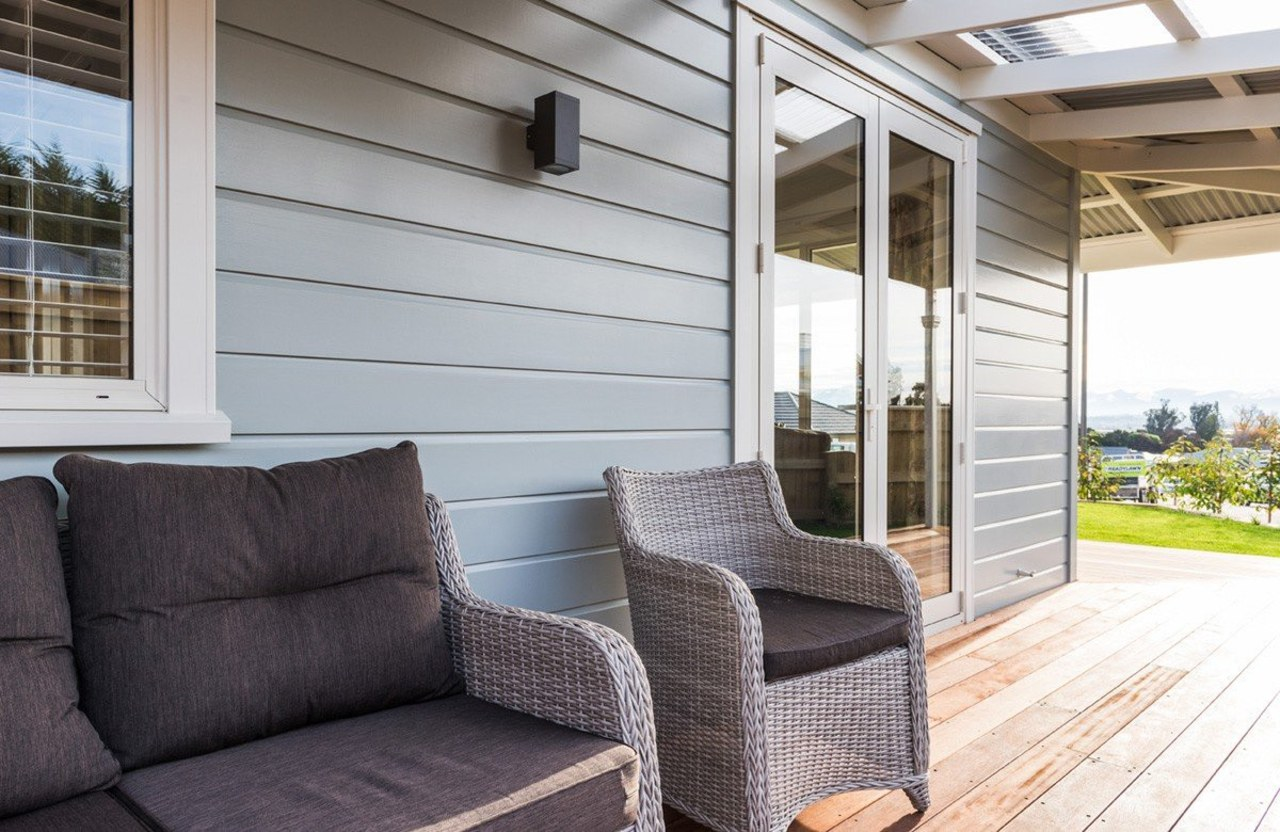 Modern Villa wall with timber weatherboards furniture, home, house, interior design, outdoor structure, porch, real estate, window, gray