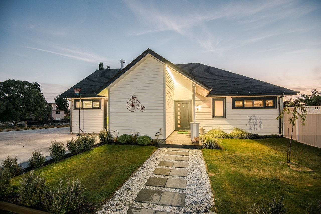 Back Entranceway To Lovely Weatherboard Home building, cottage, estate, facade, farmhouse, home, house, landscape, property, real estate, residential area, siding, sky, suburb, yard, gray, brown