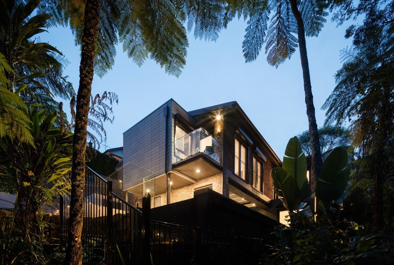 Architect: Bijl ArchitecturePhotography by Katherine Lu architecture, arecales, building, cottage, estate, facade, home, house, lighting, palm tree, property, real estate, sky, villa, black