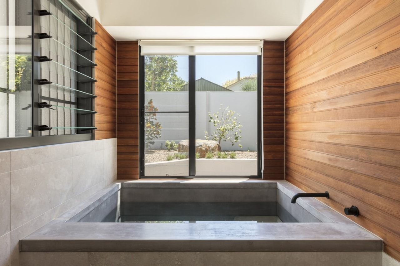 There's a distinctly Japanese fell to the bath architecture, estate, home, interior design, real estate, window, gray