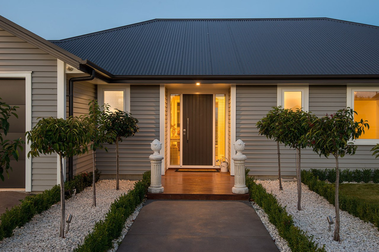 Entrance to stylish Envira weatherboard home cottage, estate, facade, home, house, property, real estate, residential area, siding, suburb, window, brown