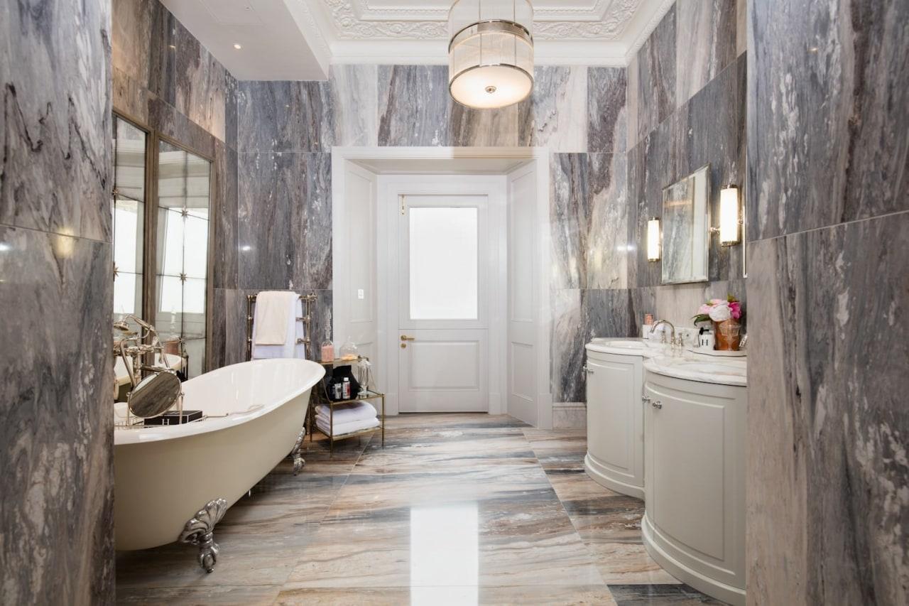 Architect: Alchemi GroupStory from Devon & bathroom, ceiling, estate, floor, flooring, home, interior design, room, gray