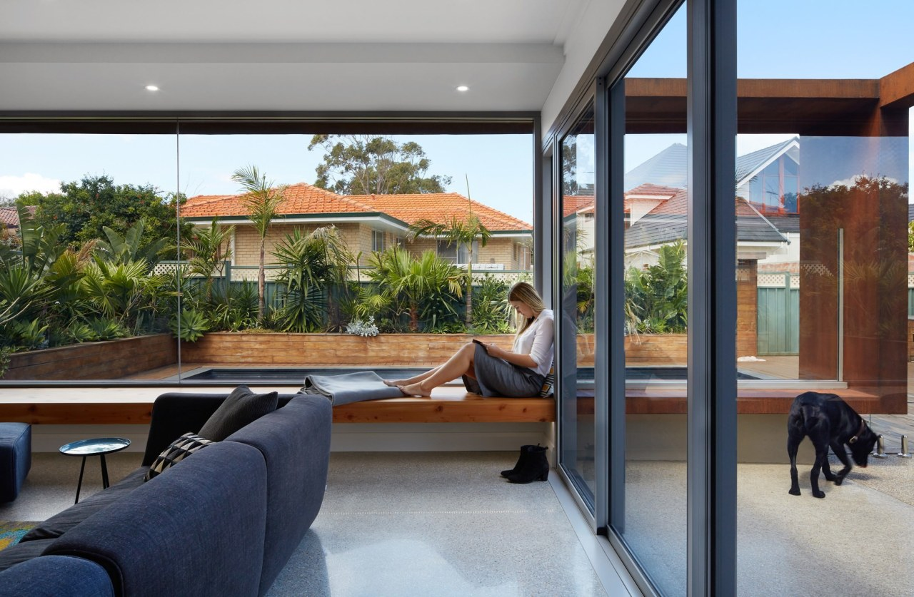This large window seat runs the length of architecture, home, house, interior design, property, real estate, window, gray