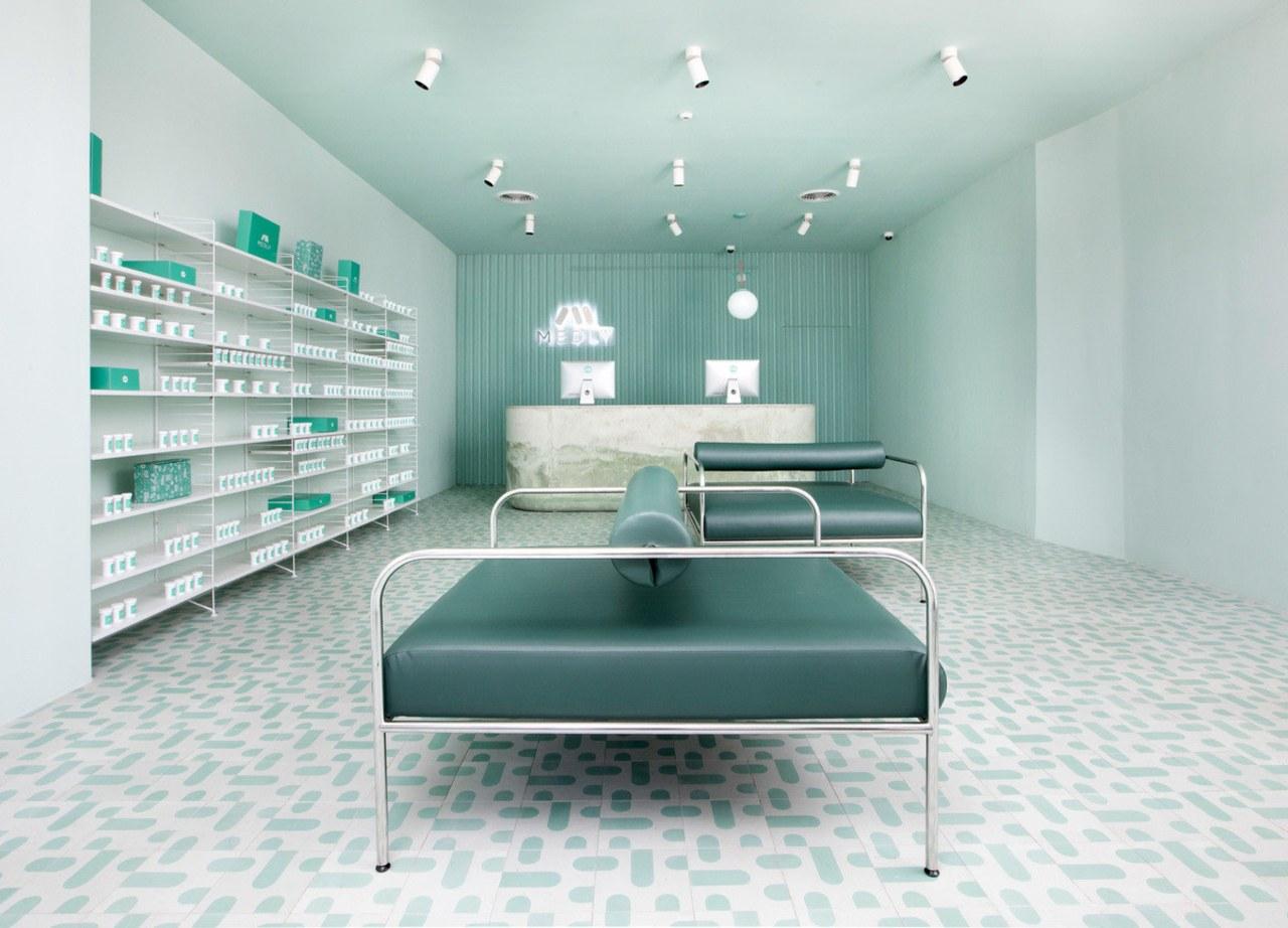 Sergio Mannino Studio designed this pharmacy to be architecture, floor, furniture, interior design, product design, gray, white
