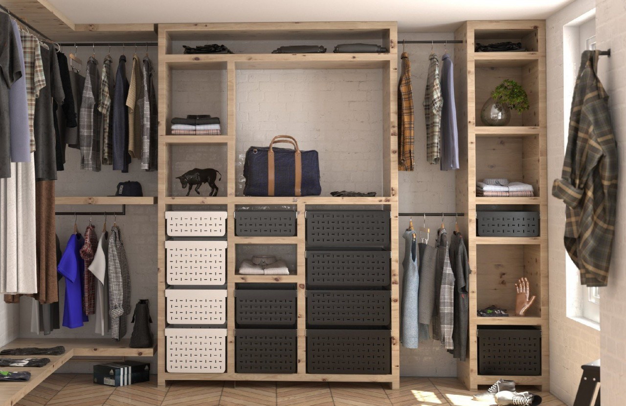 Wardrobes are a great place to incorporate Tanova cabinetry, closet, furniture, room, wardrobe, gray, black