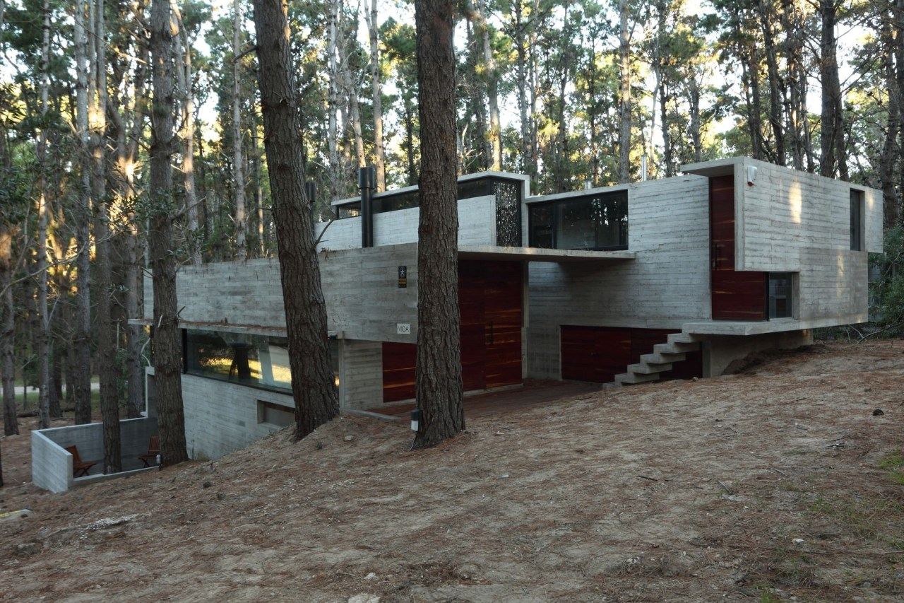 The concrete shell hides glimpses of wood architecture, cottage, home, house, property, real estate, gray, black