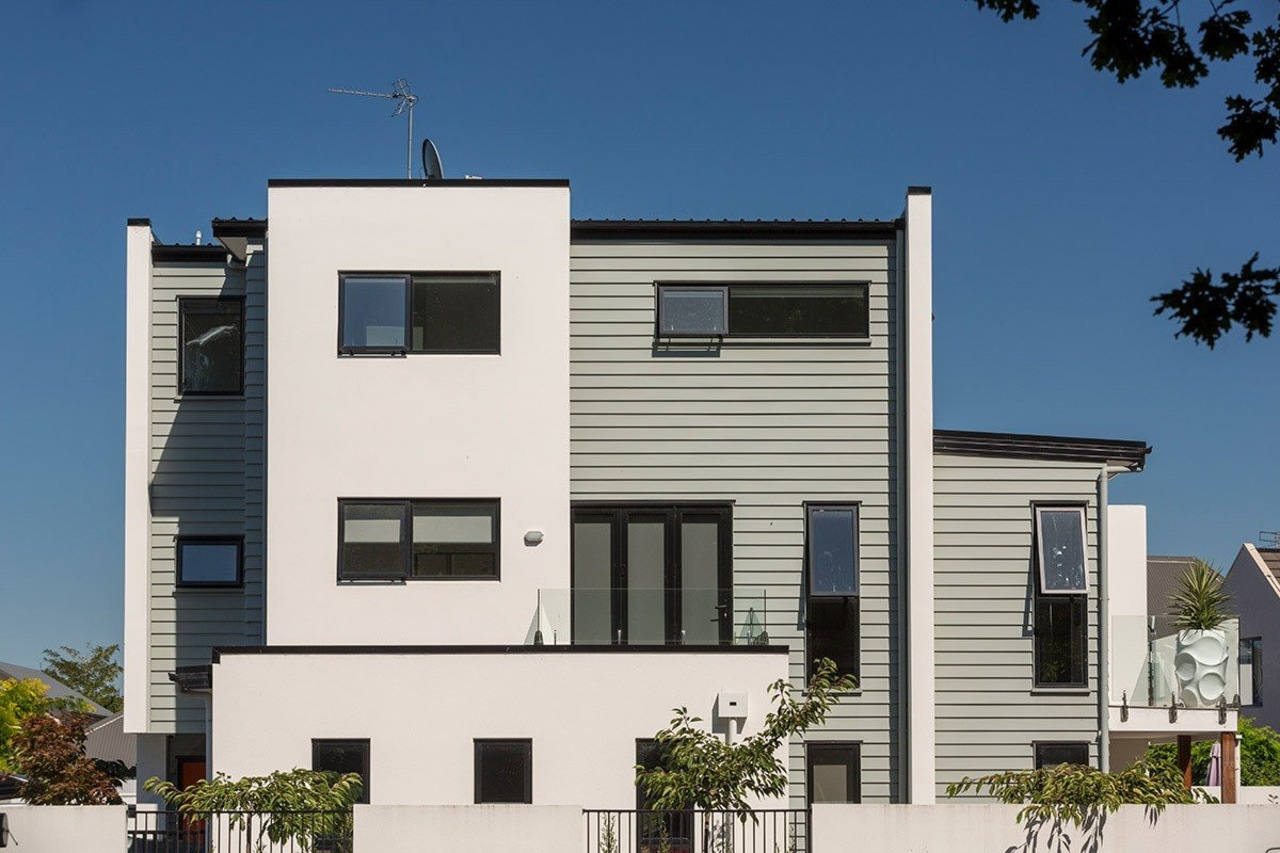 Contemporary apartments featuring Envira weatherboards in Christchurch city architecture, building, commercial building, elevation, facade, home, house, neighbourhood, property, real estate, residential area, siding, white