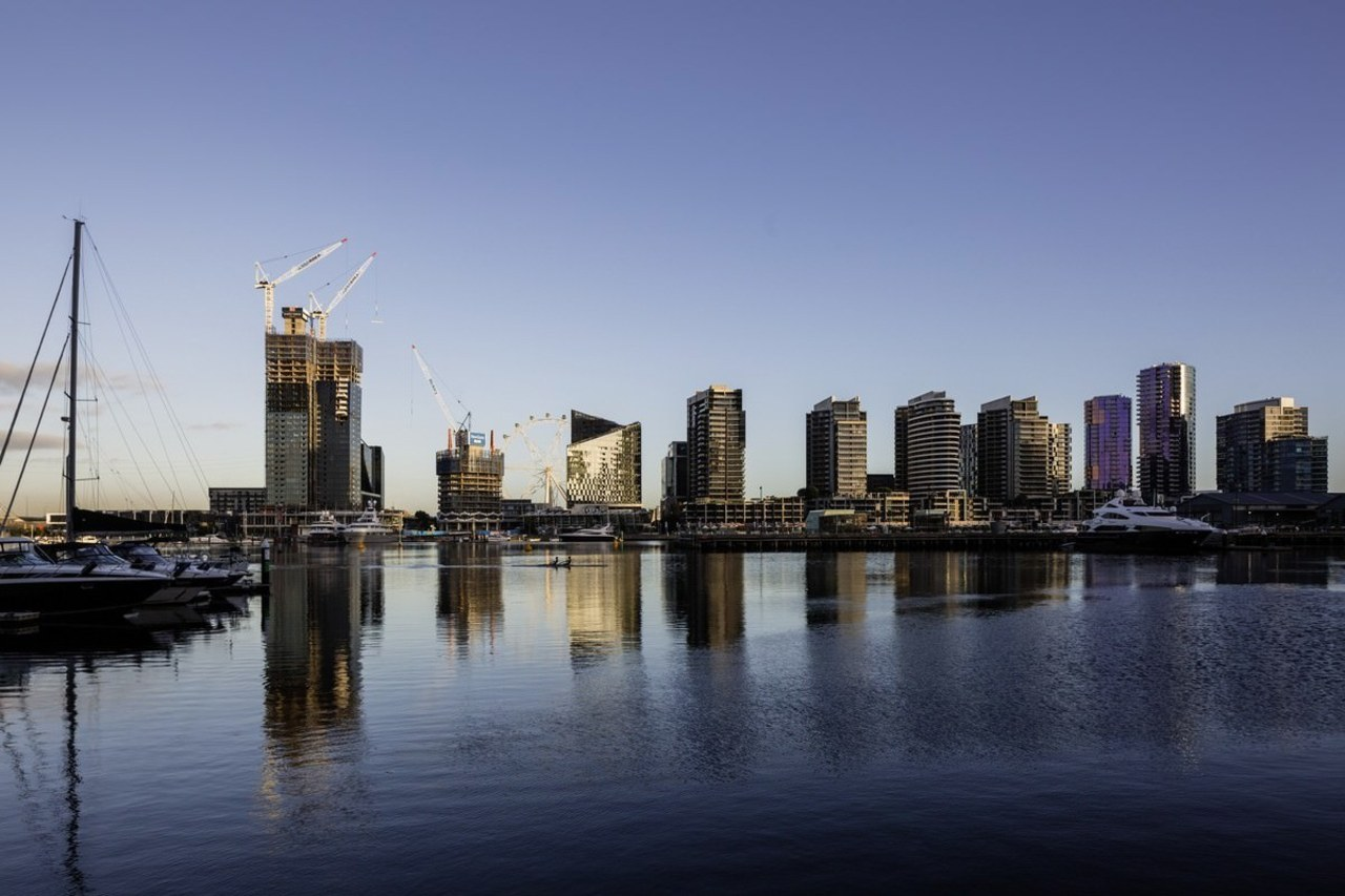 Promenade Aqui by Woods Bagot building, city, cityscape, daytime, downtown, dusk, evening, horizon, marina, metropolis, metropolitan area, morning, reflection, river, sky, skyline, skyscraper, tower, tower block, urban area, water, blue