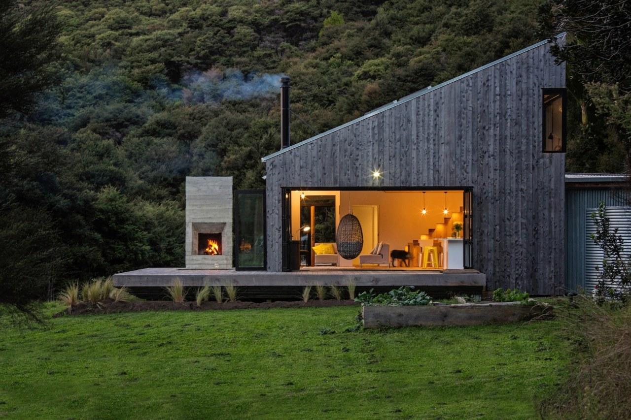 It's the perfect bush retreat architecture, cottage, facade, farmhouse, home, house, landscape, real estate, black, brown