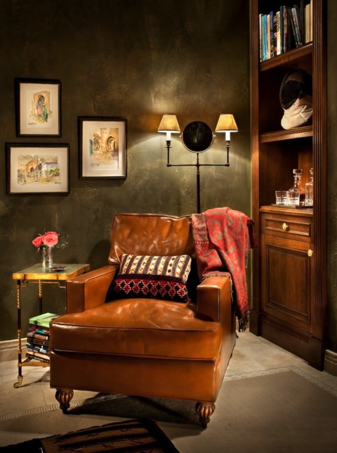 This certainly fits the image of the traditional chair, couch, furniture, hardwood, home, interior design, living room, room, table, wall, brown