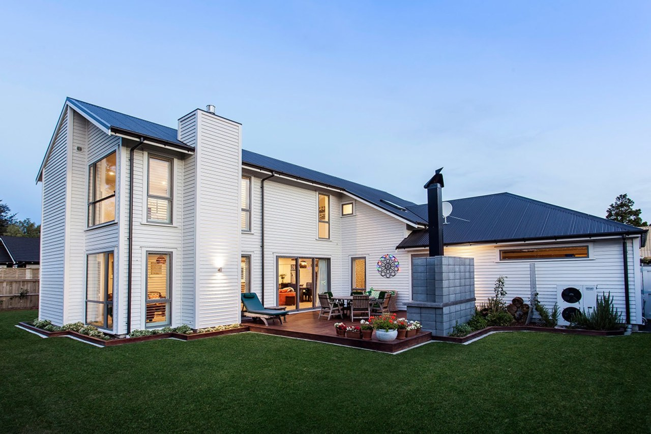 Two-story home clad with Envira bevel back weatherboards cottage, elevation, estate, facade, farmhouse, home, house, property, real estate, residential area, roof, siding, window, teal