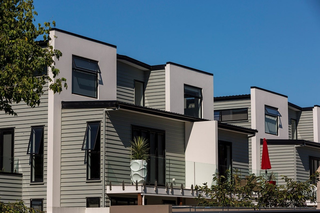 Contemporary apartments featuring Envira weatherboards. apartment, architecture, building, condominium, elevation, facade, home, house, mixed use, neighbourhood, property, real estate, residential area, siding, window, gray, black, teal