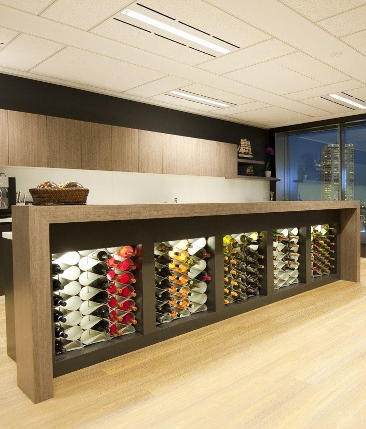 The Echelon modular wine bottle storage system can furniture, orange