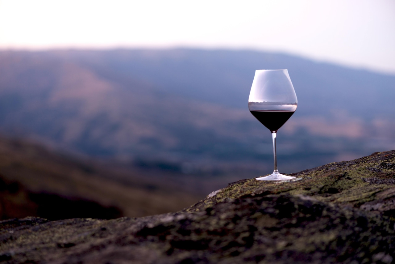 Quality glassware and crystal from The Studio of horizon, landscape, mountain, sky, black, blue
