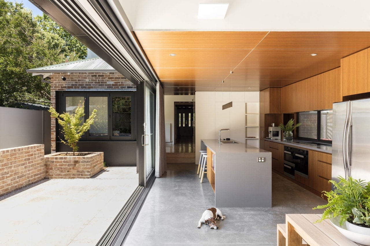 It would hard to create a stronger indoor/outdoor architecture, courtyard, estate, home, house, interior design, patio, real estate, window, white