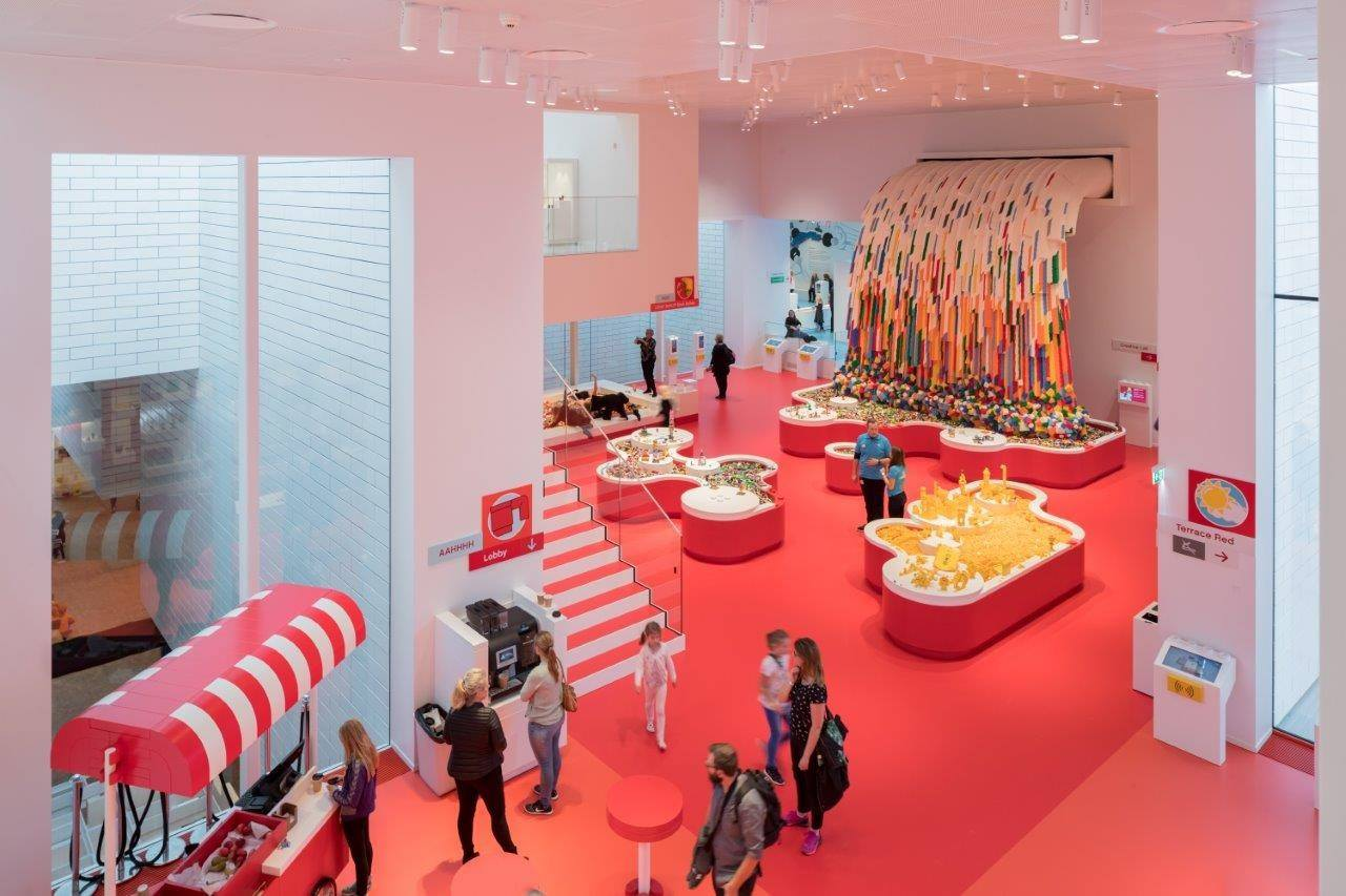 LEGO House – BIG exhibition, interior design, product, red, pink