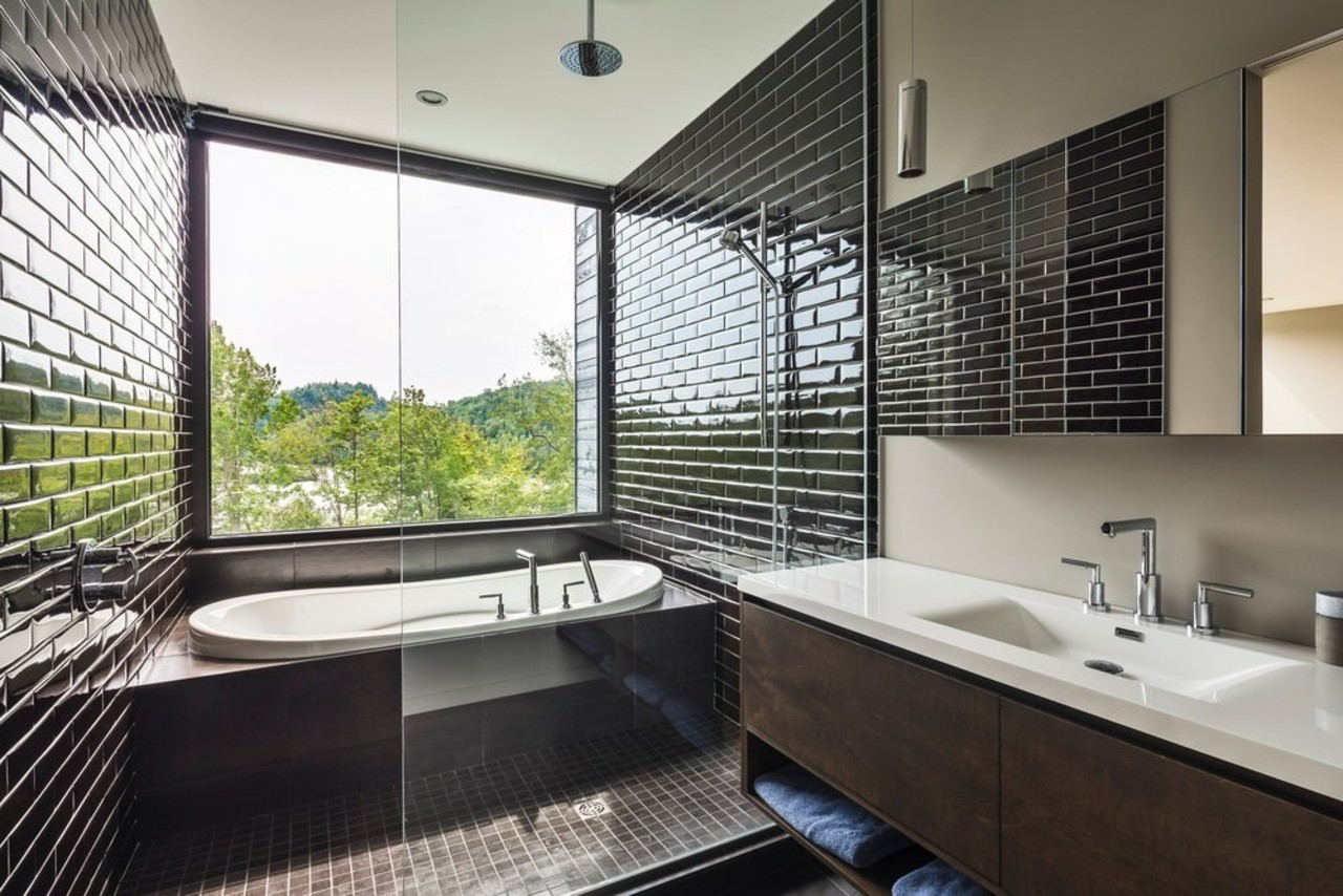 Estrade Residence – bathroom architecture, bathroom, daylighting, estate, home, interior design, property, real estate, room, window, black, white