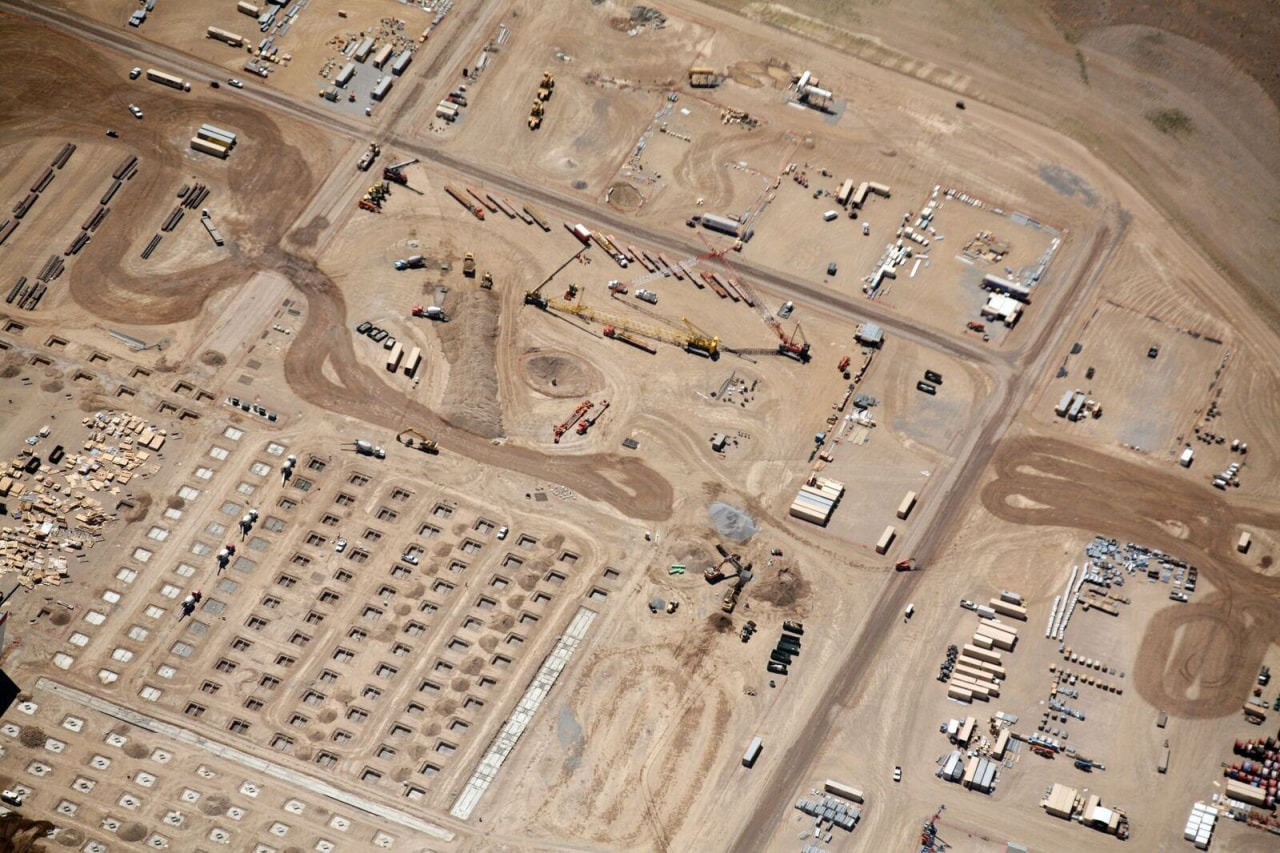 A close-up of the construction site aerial photography, ancient history, photography, orange, brown