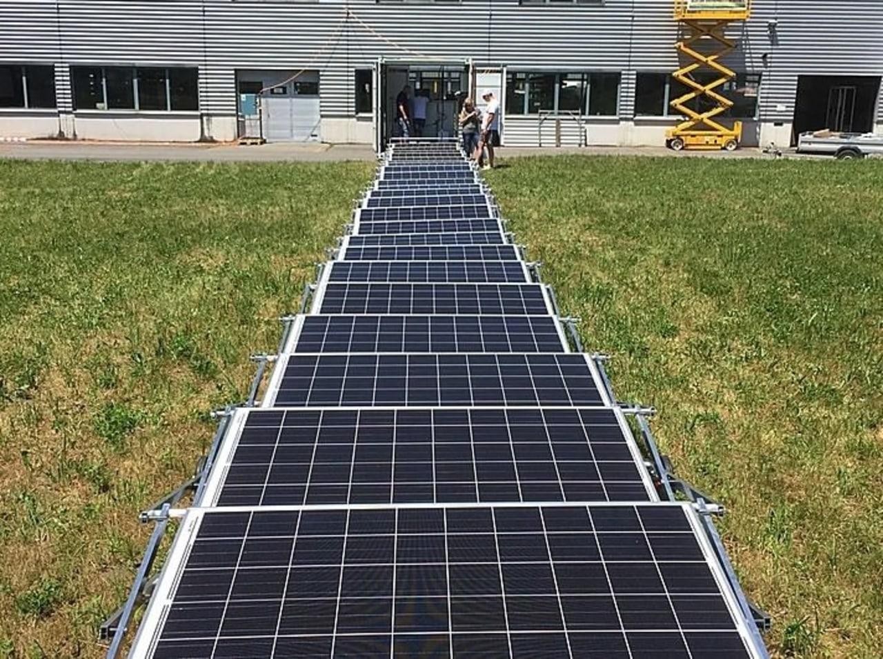 Transportable Solar Microgrid asphalt, grass, road surface, solar energy, solar panel, solar power, walkway, brown, black