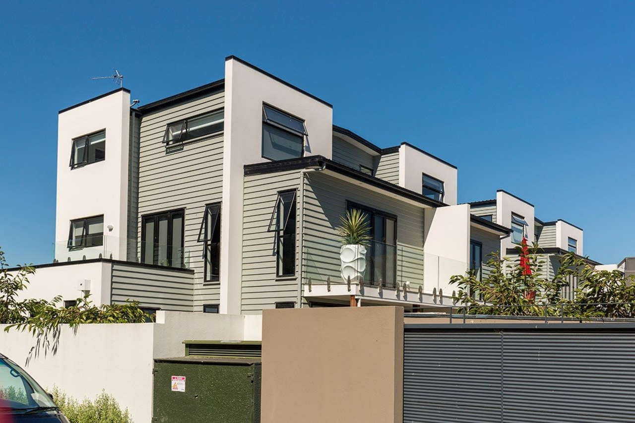 Contemporary apartments featuring Envira weatherboards apartment, architecture, building, commercial building, elevation, facade, home, house, mixed use, neighbourhood, property, real estate, residential area, siding, villa, teal