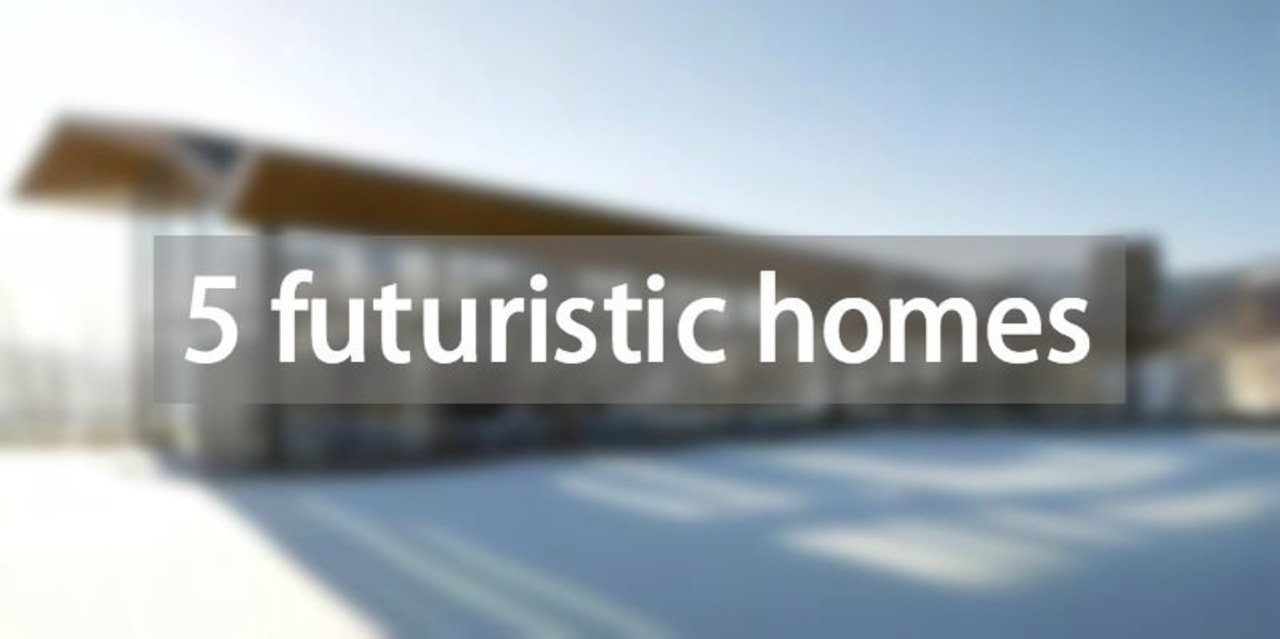Here's a collection of 5 futuristic homes advertising, brand, daytime, energy, font, line, product, product design, property, real estate, sky, text, white