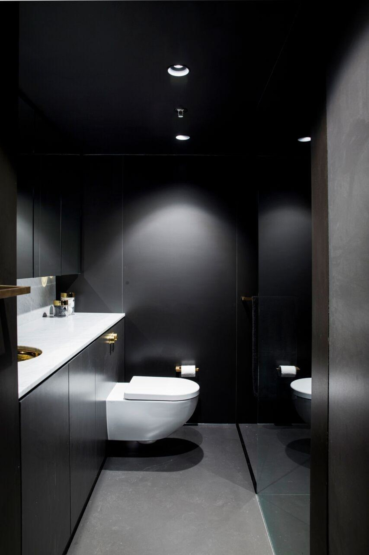 Architect: Architect Prinea architecture, bathroom, bidet, ceiling, daylighting, floor, interior design, plumbing fixture, product design, room, sink, toilet, black