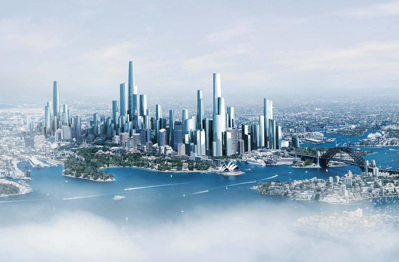 Sydney in 2050 city, cityscape, daytime, metropolis, metropolitan area, sky, skyline, skyscraper, water, white