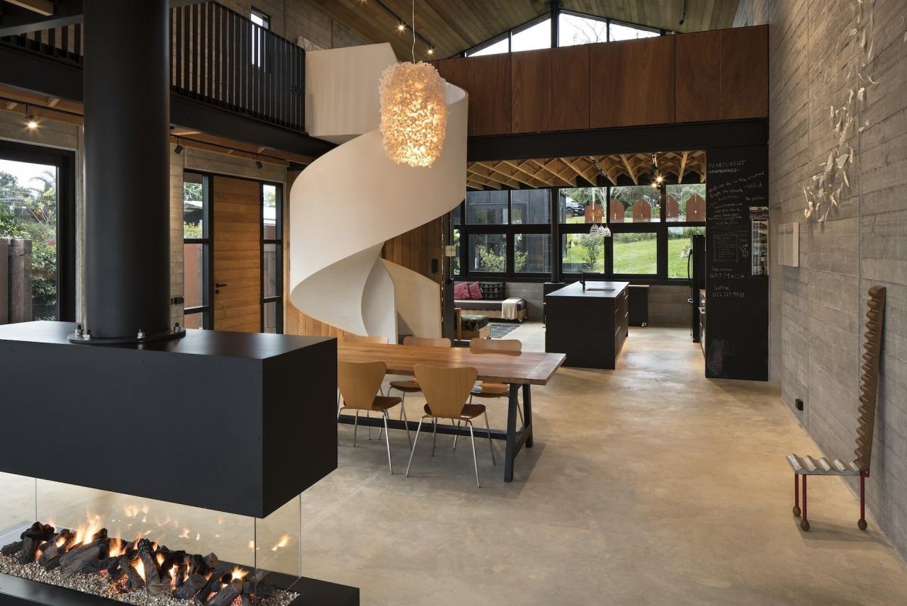 TIDA NZ 2017 – Architect-designed new home winner floor, flooring, furniture, interior design, lobby, table, black
