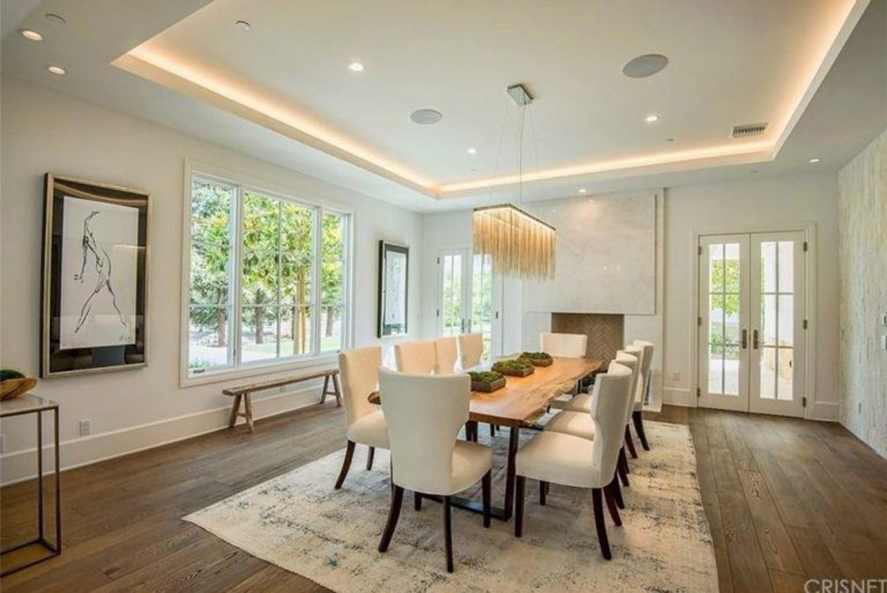 The Weeknd's massive US$19.995 million mansion ceiling, dining room, estate, floor, flooring, hardwood, home, interior design, living room, property, real estate, room, window, wood flooring, gray, orange