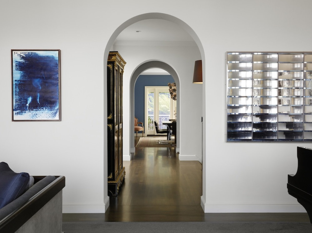 Arched doorways lead you through to the dining architecture, interior design, gray, white