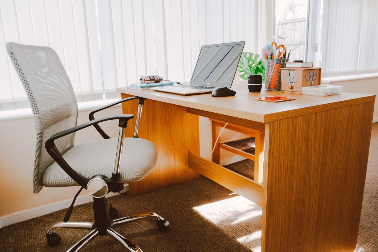 When planning your new home office, put money chair, computer desk, desk, desktop computer, furniture, interior design, material property, office, office chair, room, table, technology, writing desk, white, brown
