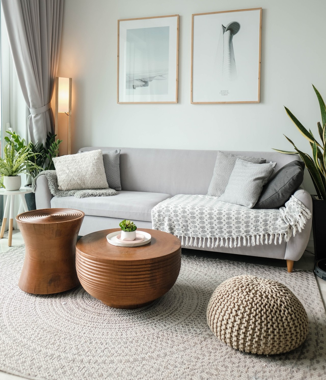 Grey couch living room decor -