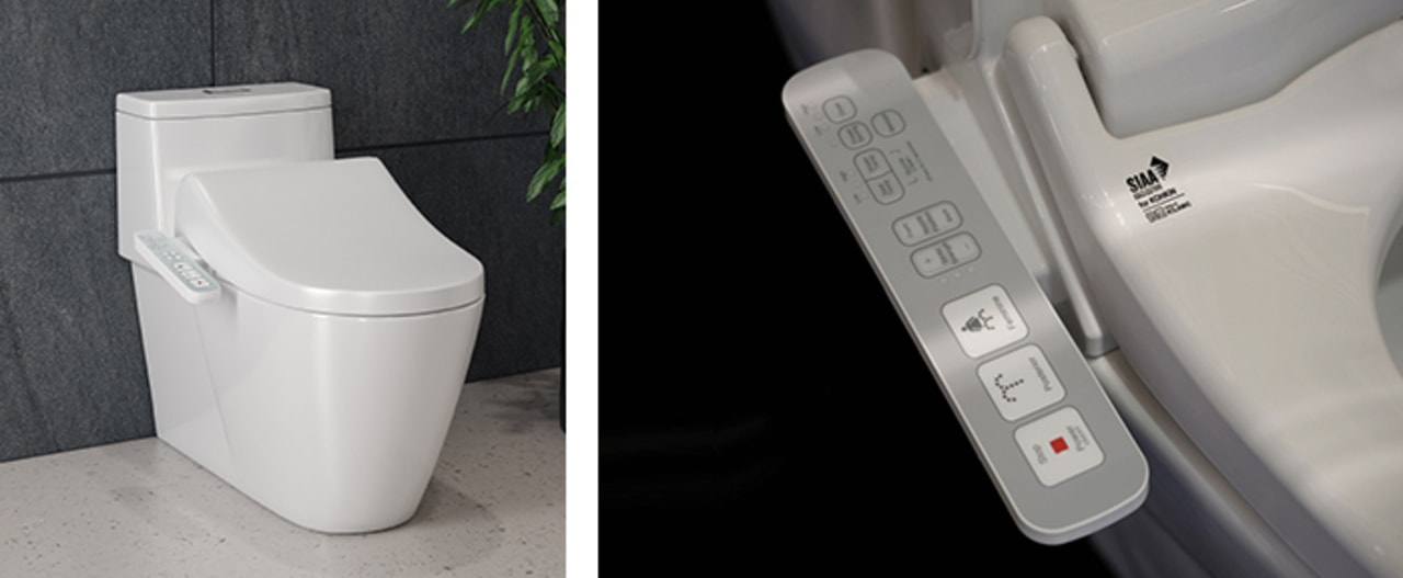 American Standard Pristine E-Bidet – available at Robertson bidet, material property, plumbing fixture, product, toilet, toilet seat, gray, black
