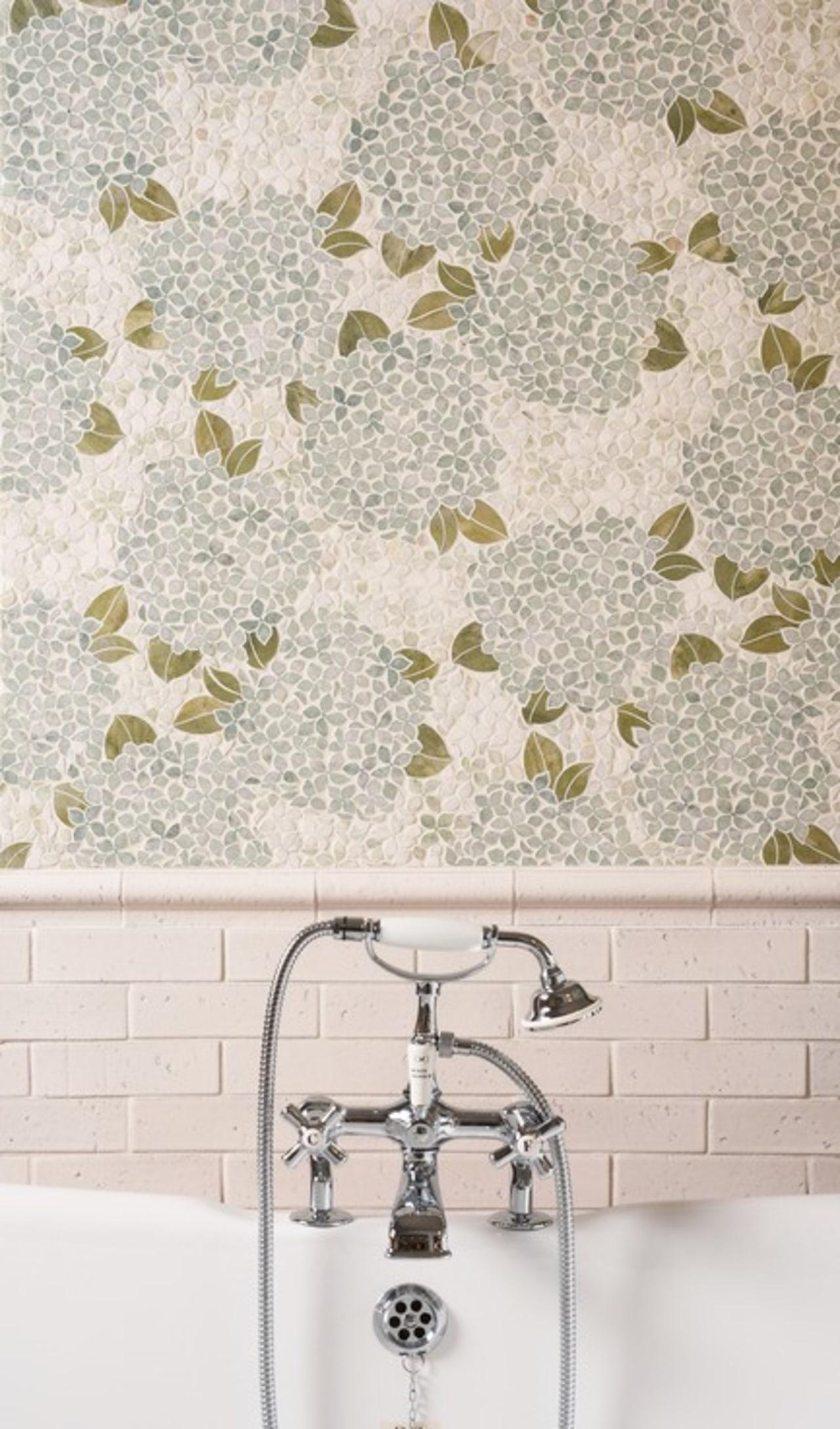 Hydrangea interior design, tile, wall, wallpaper, white