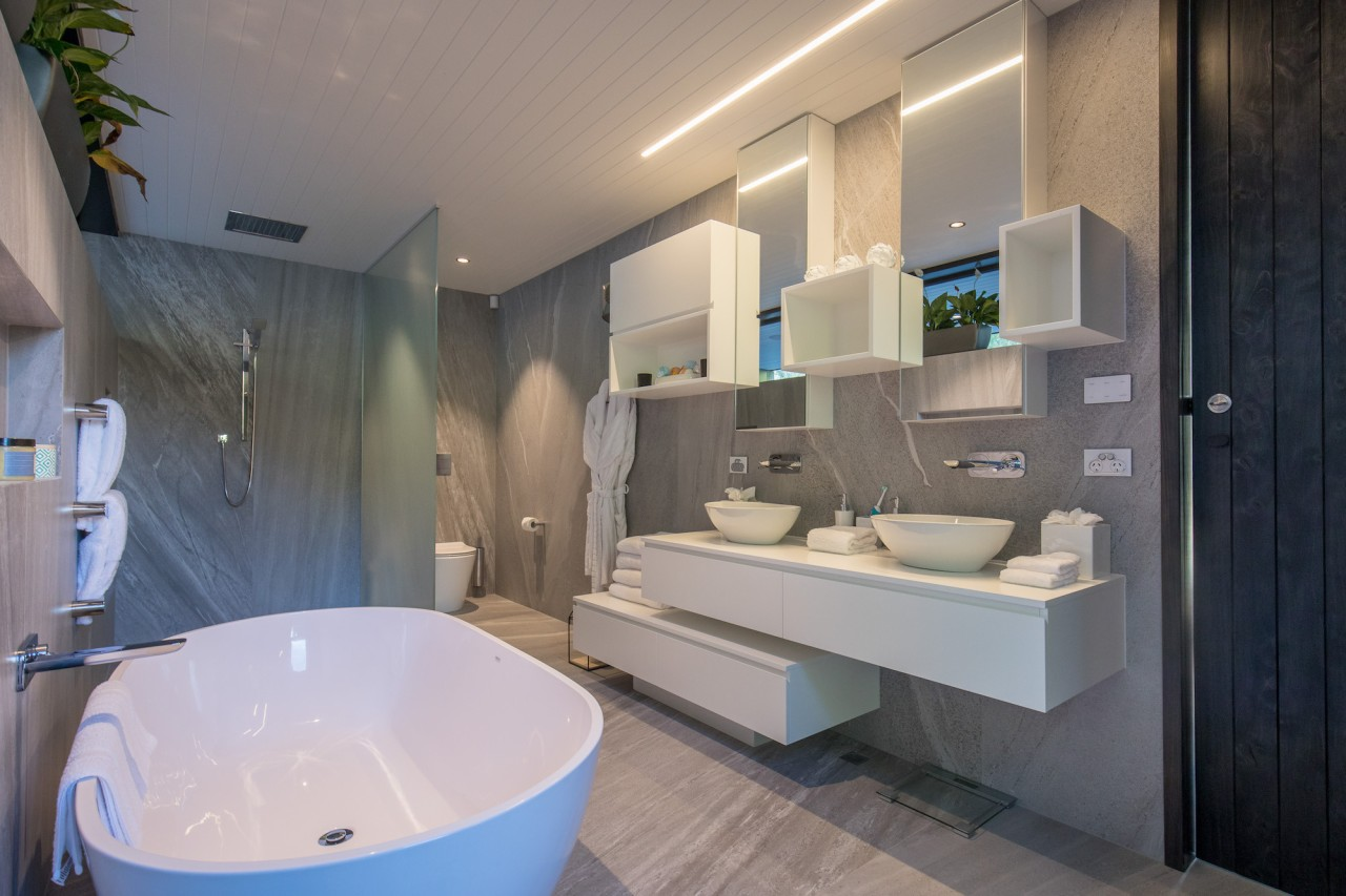 Well connected in Queenstown - architecture | bathroom architecture, bathroom, interior design, room, gray
