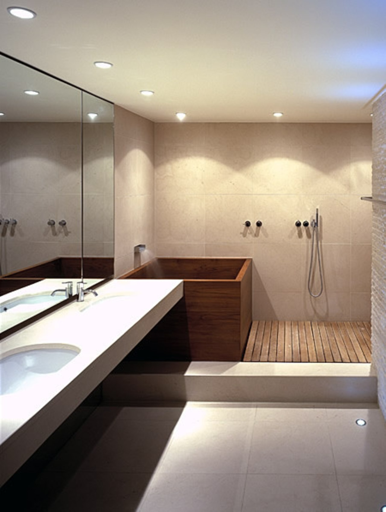Plunge bath tubs and specially designed corner-tubs that architecture, bathroom, bathtub, building, ceiling, floor, flooring, house, interior design, lighting, material property, plumbing fixture, property, room, tap, tile, gray