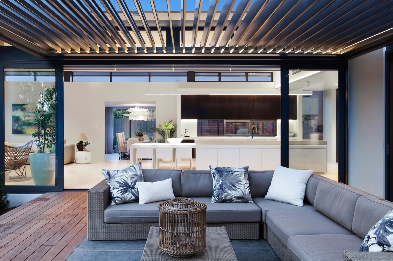 Outdoor room by O'Neil Architecture – 2018 TIDA home, house, interior design, living room, real estate, window, gray, black