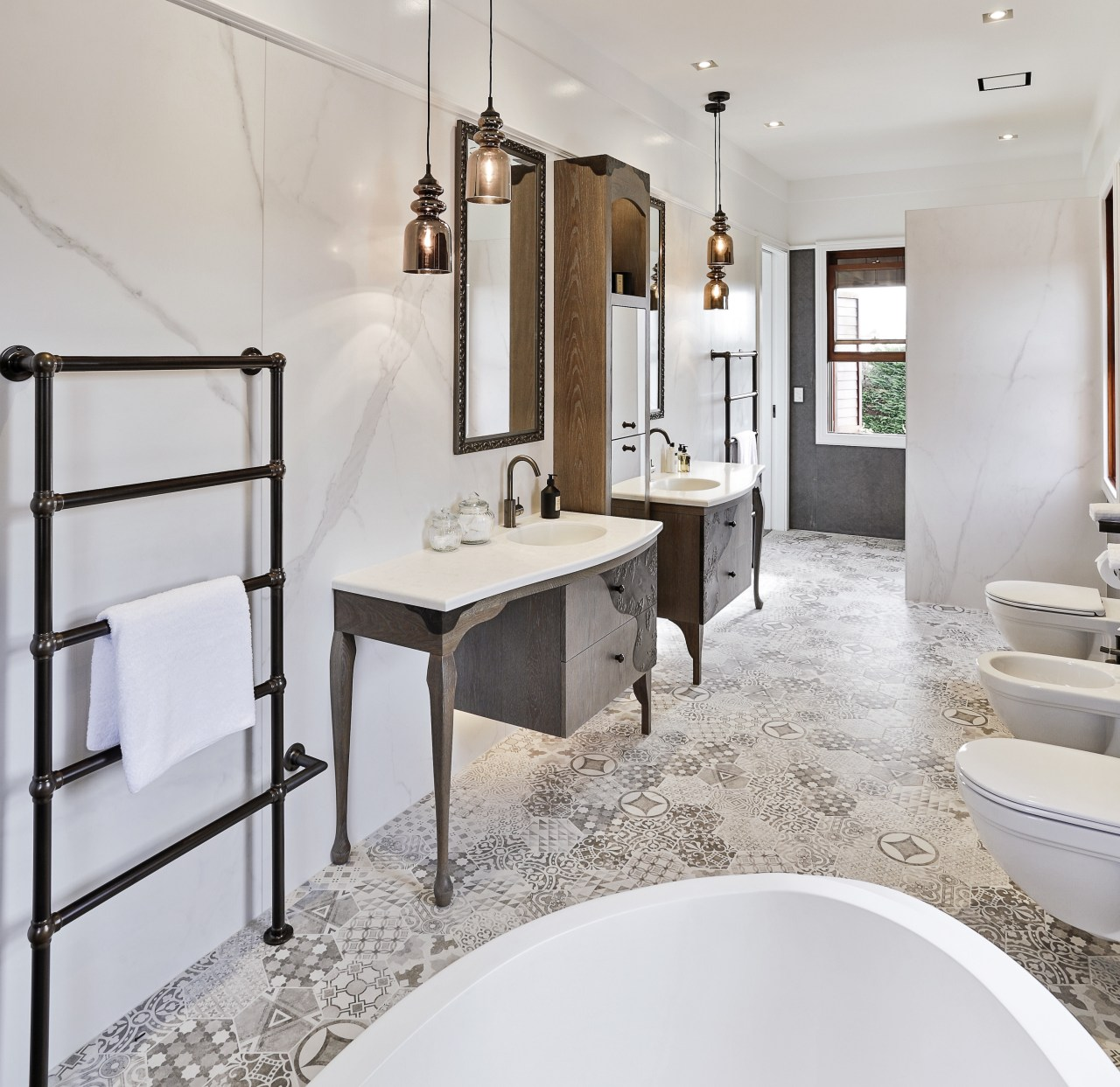 The owners wanted a bathroom with a luxurious bathroom, home, interior design, plumbing fixture, room, sink, tap, gray, white