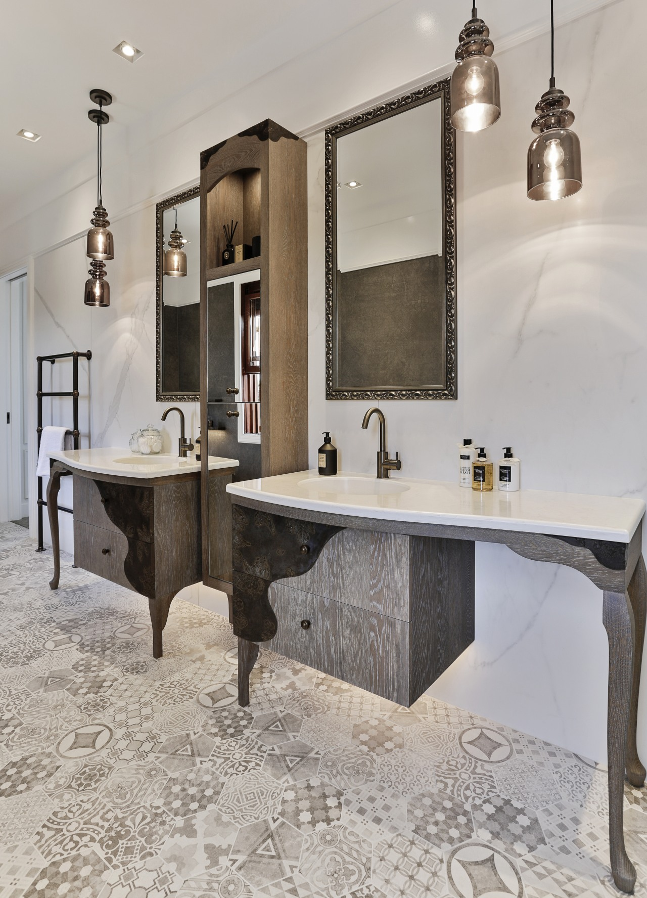 Designer Shane George designed a curved overlay pattern bathroom, countertop, floor, flooring, furniture, interior design, room, sink, tap, gray