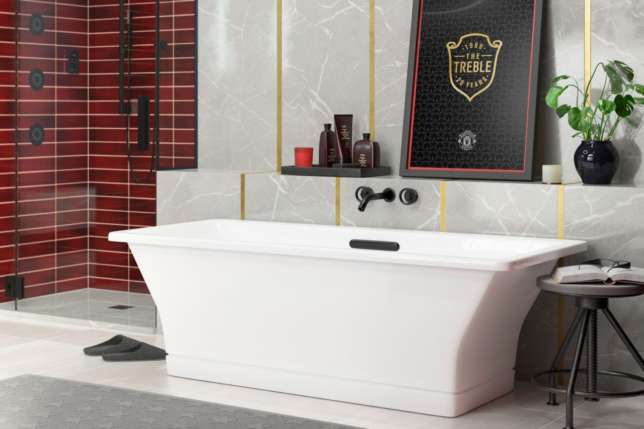 Each hand-cut tile features a unique crackle pattern architecture, bathroom, bathtub, ceramic, floor, flooring, furniture, interior design, material property, plumbing fixture, property, room, sink, tap, tile, wall, white